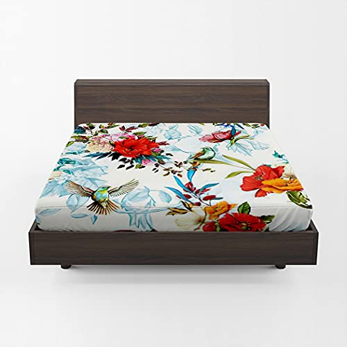 Huipaya Red Poppy Fitted Sheet, Floral Poppy Wild Blossom Rose Nightingale Birds Leaves Soft Microfiber Deep Pocket Fitted Bed Sheets Wrinkle, Stain Cozy Warm Twin Size 75''x39''