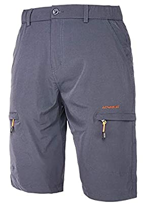 EXEKE Men's Stretch Cargo Shorts Lightweight Quick-Dry Hiking Shorts 267-Grey-4XL/38-39