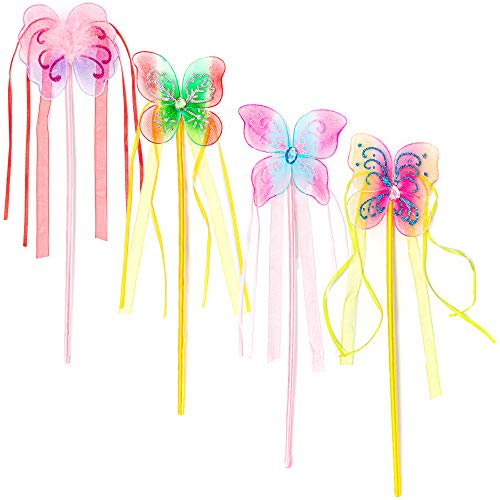 Butterfly Fairy Princess Wand Party favors (12-Pack)