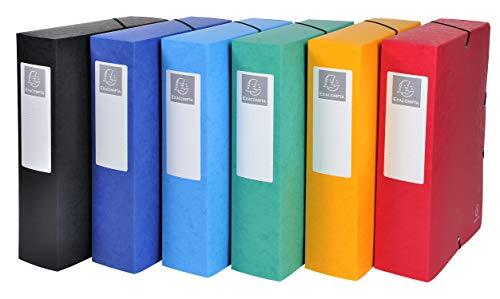 Exacompta 50830E 6er Pack Premium Sammelboxen Aufgebaut mit Gummizug 80 mm breit aus extra starkem Colorspan-Karton mit Rückenschild für DIN A4 Archivbox Heftbox Dokumentenbox farbig sortiert