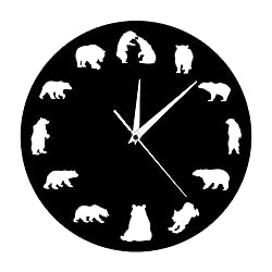 yage Wall Clock Modernbear Grizzly American Forest Mountain Animal Nursery Wall Clock Bears with Different Poses Minimalist Design Modern Wall Clockliving Room Bedroom