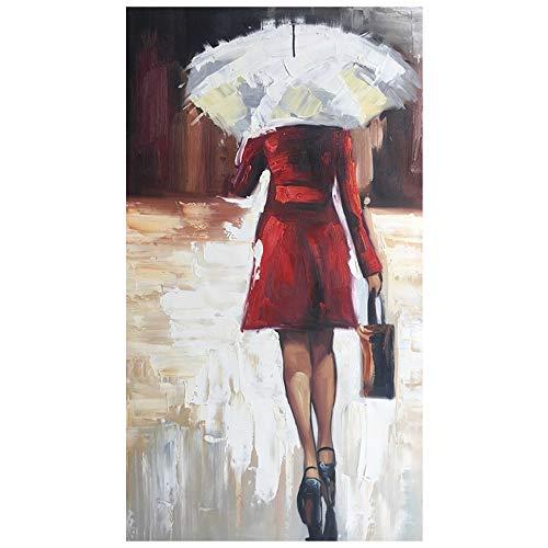 LegendArte Olio su Tela - Quadro su Tela Dipinto a Mano - Piove!, cm. 50x90 - Quadro Moderno Soggiorno