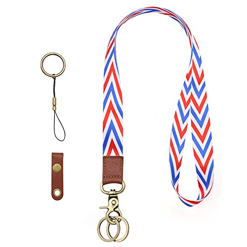 Lanyard for Keys,Neck Lanyard Keychain Holder for Men and Women-Detachable Cool Neck Strips Lanyard with Metal Clasp and Genuine Leather,Ideal for Keys,ID Badges,Wallets and Phones