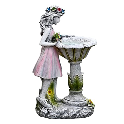 TeeFly Figuras de decoración de jardín, luz Solar, Adorno de jardín, Resina, niña, Hada, Estatua, Adorno de jardín, artesanía de Resina, paisajismo, decoración de Patio