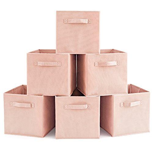 EZOWare 6er-Pack Aufbewahrungsbox Faltbare Aufbewahrungskiste Faltbox und Weichem Stoff in Würfelform - Pale Dogwood