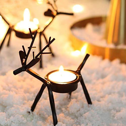 cineman Kino Elch Universal-Kerzenhalter für Weihnachten, Teelichthalter, Rentier, Tisch-Kerzenhalter für Urlaub, Heimdekoration, 4 Stück, Schwarz