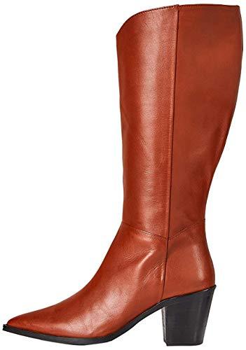 Marchio Amazon - find. Knee High Pull On Leather Western Stivali Alti, Marrone Picante),...