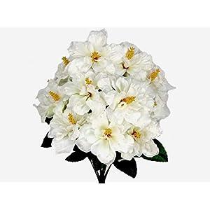 20″ Inch Bouquet Cream Hibiscus Bush 12 Artificial Silk Flowers