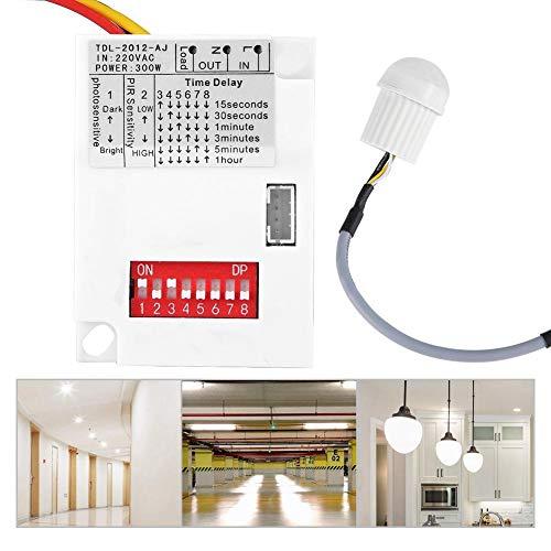 Wandisy Regalo de Julio Interruptor del Sensor 220V, Sensor de inducción Ajustable del Cuerpo Humano Sensor automático Interruptor infrarrojo Almacén Balcón Corredor Control de luz