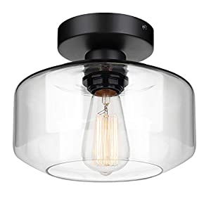 Industrial Semi Flush Mount Ceiling Light, Clear Glass Pendant Lamp Shade, Farmhouse Lighting for Porch Hallway Kitchen Island Corridor Bedroom Bar, Vintage Hanging Light Fixtures, Bulb Not Included