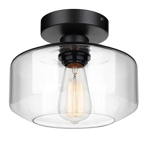Industrial Semi Flush Mount Ceiling Light, Clear Glass Pendant Lamp Shade,...