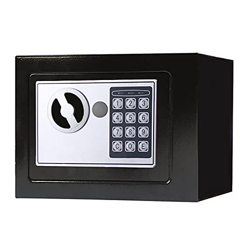 FDYZS Pequeño Valor Seguro Contraseña de Acero Inicio Mini Safe Coin Caja de 8 litros Capacidad para el hogar, Oficina, Banco, Supermercado,Negro