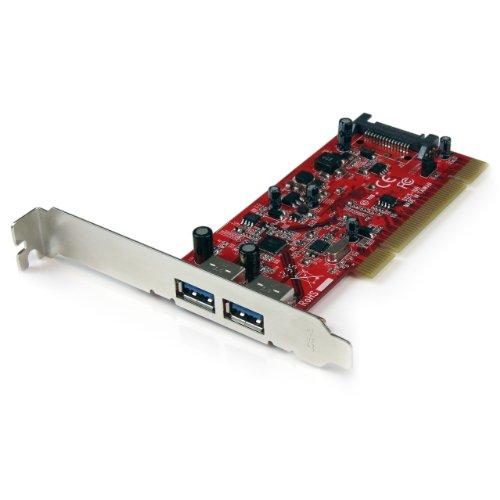 StarTech.com 2 Port PCI SuperSpeed USB 3.0 Adapter Card with SATA Power - Dual Port PCI USB 3 Controller Card (PCIUSB3S22)