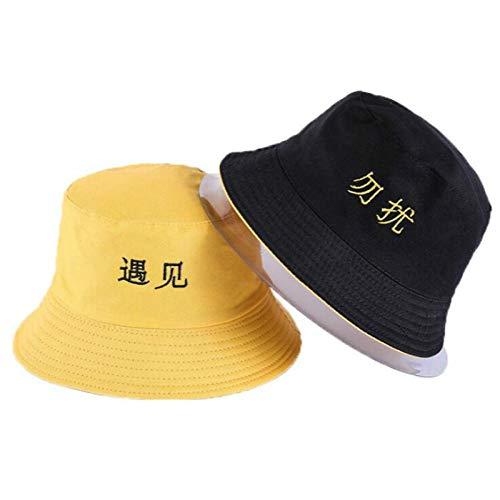 Bucket Hat Chapeau Lettre Broderie Chapeau De Seau Réversible Casquette Deux Côtés Porter Chapeau D'Été Coton Chapeau De Pêche Sports De Plein Air Plage Panama Hommes Adultize Color3