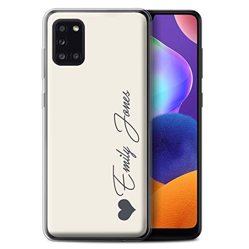 Stuff4 Personalisiert Persönlich Pastell Töne Gel/TPU Hülle für Samsung Galaxy A31 2020 / Elfenbein Herz Design/Initiale/Name/Text Schutzhülle/Hülle/Etui