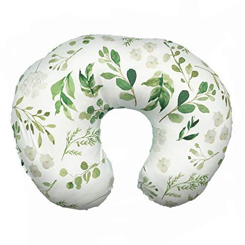 Nursing Pillow Cover, Breastfeeding Pillow Cover, Green Leaf Nursing Pillow Cover, Botanical Breastfeeding Pillow Slipcover, Mint Minky, Boho White Green Leaf Nursery Decor, Soft Fits Snug On Infant