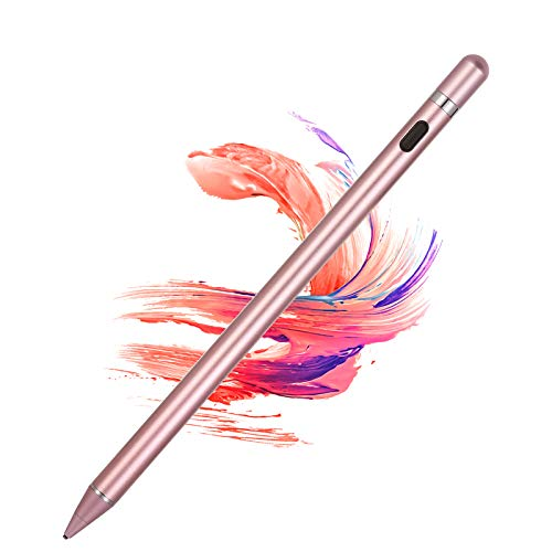 Active Stylus Pens for Touch Screens, Rechargeable Digital Stylish Pen Pencil Compatible with iPhone iPad Mini (Rose Gold)