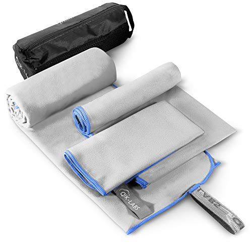 Microfiber Travel Towel 3 Sizes in 1 Pack, Quick Drying Towel, Quick & Fast Dry Travel Towel for Camp, Sweat, Gym, Sports, Workout, Bath, Body, Camping, Backpacking, Hiking, Women, Men, Hair - Compact
