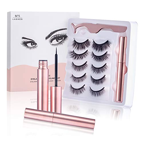 5 Pairs Magnetic Eyelashes with Eyeliner - Reusable 5D Magnetic Fake Eyelashes Kit , Natural Look,Strong Magnetic,Upgraded False Eyelashes Sets with Tweezers , Waterproof Magnetic Eyeliner