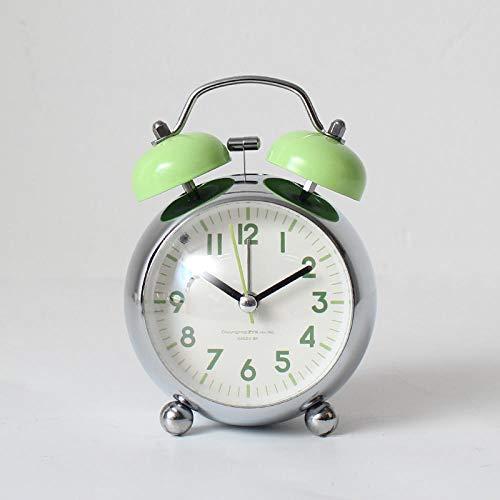 Mzbbn Despertador Despertador Reloj Fuerte Despertador silencioso de cabecera Infantil Verde-Convexo de 3 Pulgadas Despertador analógico Despertador de Viaje