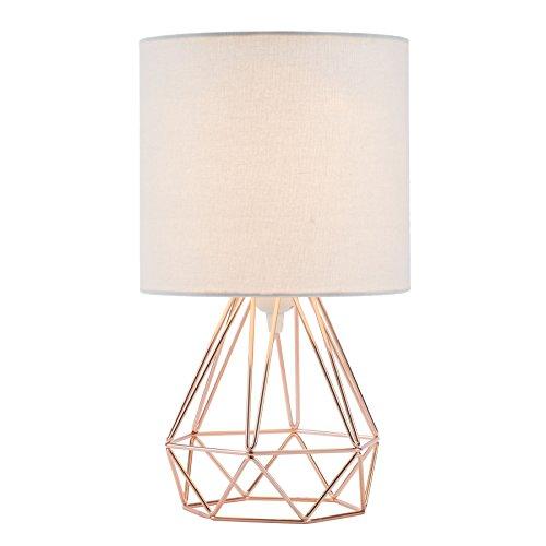 Valens 1PC Lámpara de Mesa Diamante E27 Lampara para Mesillas de Noche Lámpara de Mesa en Forma de Diamante Mini Lámpara de Mesa Vintage (Dorado Rosa, 1 pc)