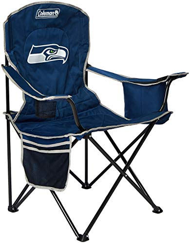 Coleman NFL Cooler Quad Folding Tailgating & Camping Chair with Built in Cooler and Carrying Case, Seattle Seahawks