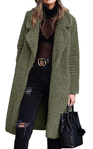 Angashion Women's Fuzzy Fleece Lapel Open Front Long Cardigan Coat Faux Fur Warm Winter Outwear Jackets with Pockets Army Green XL