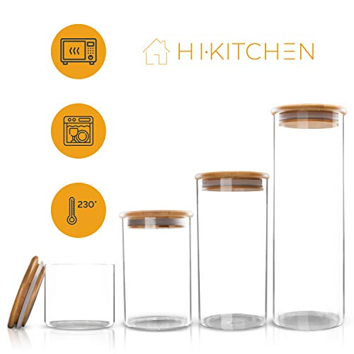 HIKITCHEN® Vorratsgläser [4er Set] aus 3mm dickem Borosilikatglas | Vorratsdosen mit Bambusdeckel | spülmaschinenfest und hitzebeständig (4er Set)
