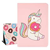 Floral iPad Case 9.7inch for Kids, Cute Cat with Pink Flowers Lightweight Protective Smart iPad Case, PU Taiga Leather Stand with Auto Sleep Wake