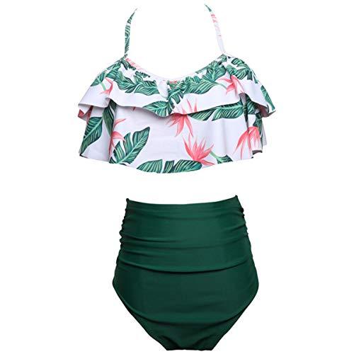 AOWKULAE Baby Girls Bikini Swimsuits Hawaiian Print Two Pieces Ruffle Falbala Swimwear Bathing Suits, Green, 6-8 Years = Tag 140