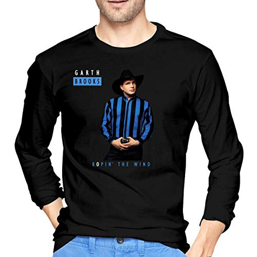 Camiseta de Manga Larga para Hombre Men's Garth Brooks Ropin' The Wind Cotton Long Sleeve T-Shirts Black Unique Design