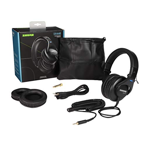 Shure SRH440 Professional Studio Headphones, Enhanced Frequency Response and Extended Range for Home and Studio Recording, with...