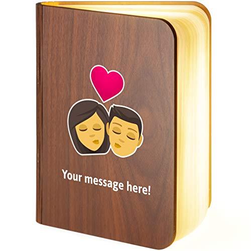Lámpara LED magnética plegable de madera personalizable con beso Emoji, Medium