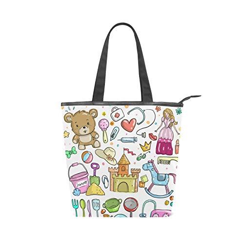 JinDoDo Bolsa de lona con cremallera para bebé, juguetes de castillo, bola de dibujos animados, bolso para mujer, para ir de compras, viajes, playa, escuela