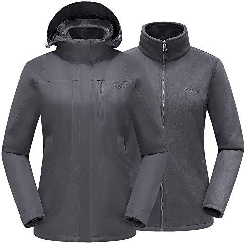 Cleesmil Giacca da Sci da Donna 3 in 1 Cappotto Invernale Impermeabili Giacca a Vento Calda con Giacca Softshell di Pile e Cappuccio Rimovibile Grigio Scuro (L)