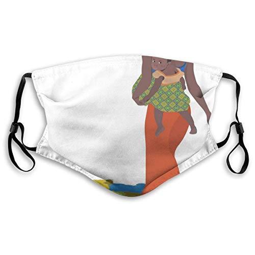Maske Schutzmaske Mode-Mutter, die Baby-Mädchen auf ihrem Rücken trägt Afrika-Land-Kultur-Kontinent-Karte, gedruckte Gesichtsdekorationen für Unisex M. Mund-Nasen Bedeckung Halstuch Bandana Maske Scha
