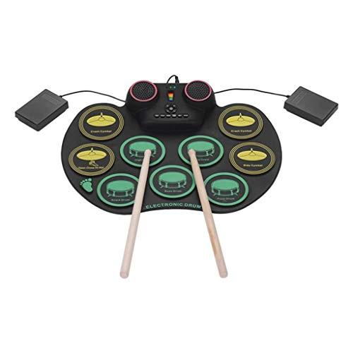Yusell Elektronisches Schlagzeug 9 Drum Pads Roll Up Drum Portable mit Kopfhöreranschluss für Kinder oder Anfänger