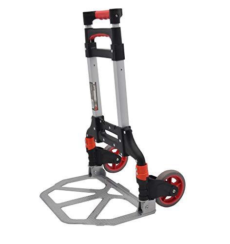 Carretilla de mano plegable o carro plegable de aluminio con mango extensible de hasta 100 CM para cargas de hasta 70 kg.