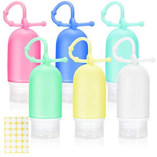 Gifort 6 Piezas Botellas de Viaje Portatiles 50ml, Botellas de Silicona Rellenables, Botellas Vacías Contenedores Viaje para Desinfectante de Manos Champú Loción Gel