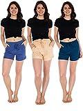 Sexy Basics Women's 3 Pack Active Wear Lounge Yoga Gym Casual Sport Shorts (3 Pack- Denim/Sand/Sailor Blue, Large)