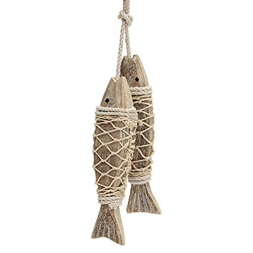 2 peces colgantes de decoración para colgar, diseño de peces de red de pesca, decoración de estilo mediterráneo, estilo marítimo, retro, escultura de madera, para colgar en casa, regalo