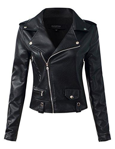 Sungtin Women's Black Faux Leather Motorcycle Biker Short Jacket Coat XXX-Large PY5