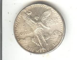 1982 No Mint Mark Mexican libertad 1 OZ. Onza Silver coin $1