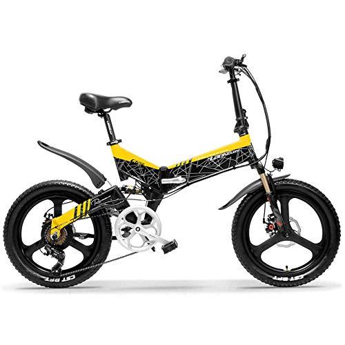 LANKELEISI G650 Bicicletta elettrica Pieghevole a 20 Pollici 400W 48V 10.4Ah/12.8Ah/14.5Ah Batteria 5 Pedali di Livello Assist Sospensioni Anteriori e Posteriori (Nero Giallo, 14.5Ah Standard)