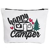 Happy Camper - Camper Accessories for Travel Trailers Camper Accessories Campfire Makeup Bag Gifts for Camper Camp Retro Vintage Camping Gifts for Women Men Girl Boy Graduation Gifts 2021