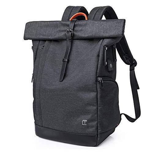 VORRINC Roll Top Rucksack mit USB fur 15.6 Zoll Notebook, Laptop Rucksack Damen, Wasserdicht Tagesrucksack Schulrucksack College-Rucksack Teenager Schulranzen Jungen (Schwarz)