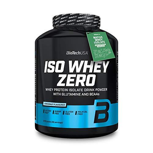 BioTechUSA Iso Whey Zero Premium Protein Isolat Pulver, Proteinpulver aus Native Whey Isolate mit L-Glutamin und BCAA angereichert, palmöl- und aspartamfrei, 2270g, Kokosnuss