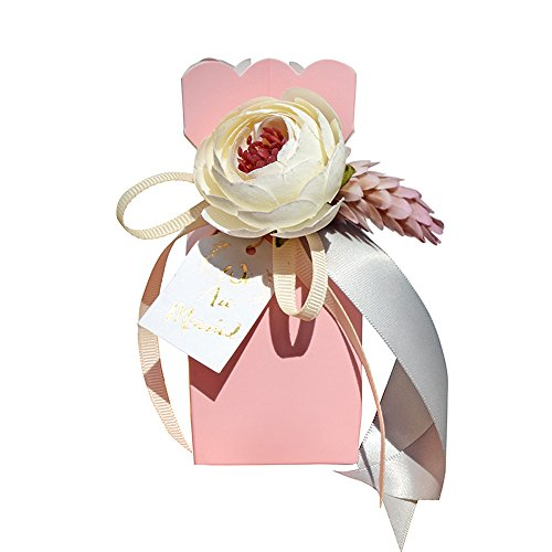 Moleya Pack of 20 pcs DIY Wedding Favors Candy Boxes with Ribbon and Flower for Engagement, Bridal Shower Party, Princess Pink