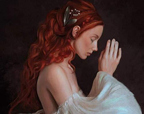 KsimYa Rompecabezas Jigsaw Puzzle, 1000 Pieces Redhead Praying Woman Puzzle Games Art Toys para Adultos Y Niños