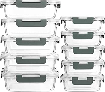 [10-Pack]Glass Meal Prep Containers with Lids-MCIRCO Glass Food Storage Containers with Lifetime Lasting Snap Locking Lids Airtight Lunch Containers Microwave Oven Freezer and Dishwasher